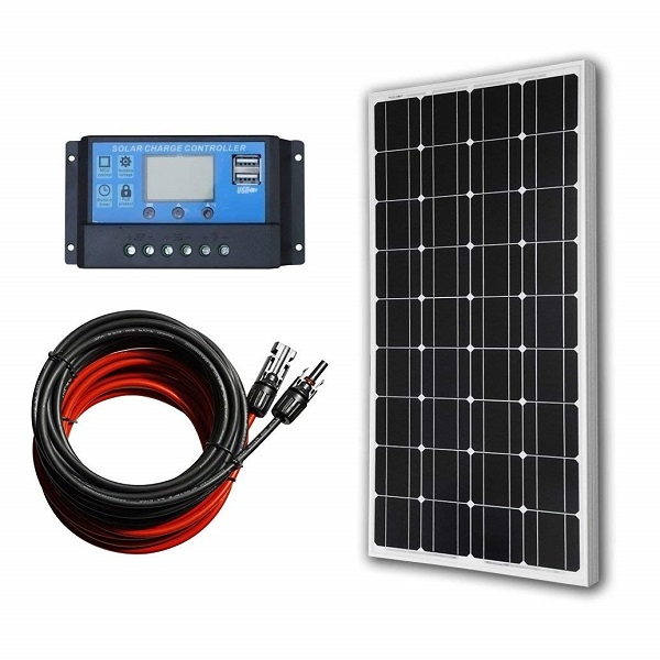 100W 12V Monocrystalline Solar Panel Kit with 20A LCD Charge Controller