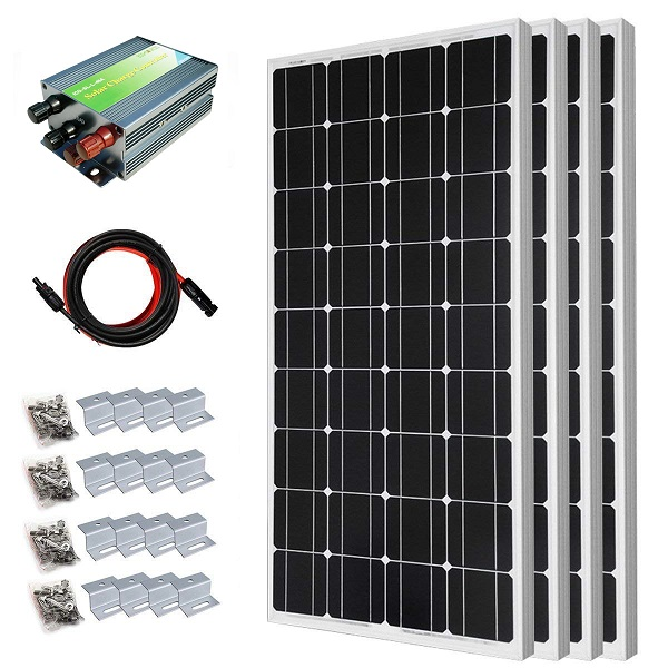 400W Off-Grid Monocrystalline Solar Panel Starter Kit with 45A PWM Solar Controller