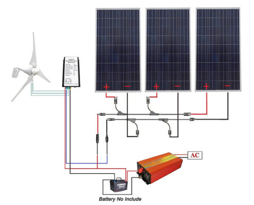 12-110V Completed Solar Wind Hybrid System for Home Electric Appliances