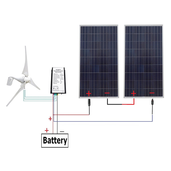 24 Volts 700 Watts Off Grid Solar & Wind Powered Hybrid System for Home Use