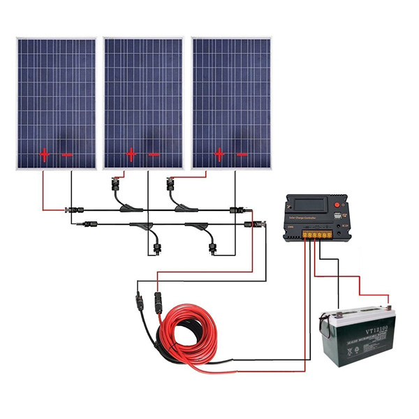 300W Off Grid Solar Panel Kits for 12V Charging System in Home Car Boat Caravan