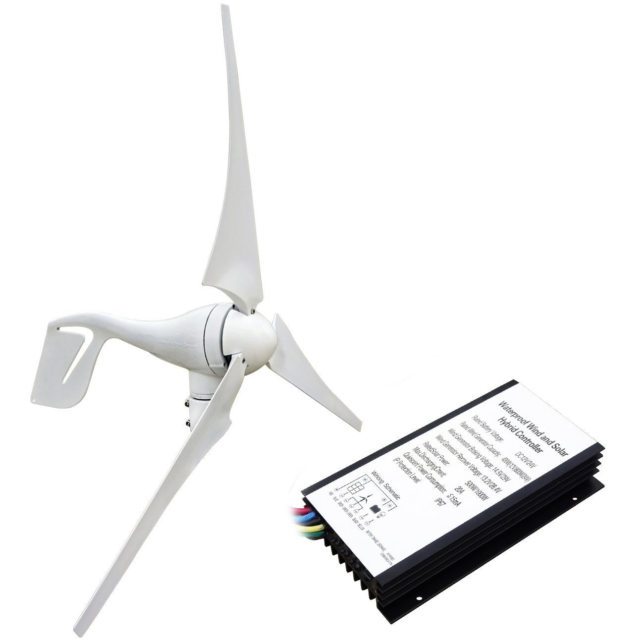 400w 12v 24v Wind Turbine Generator With 20a Hybird Charge