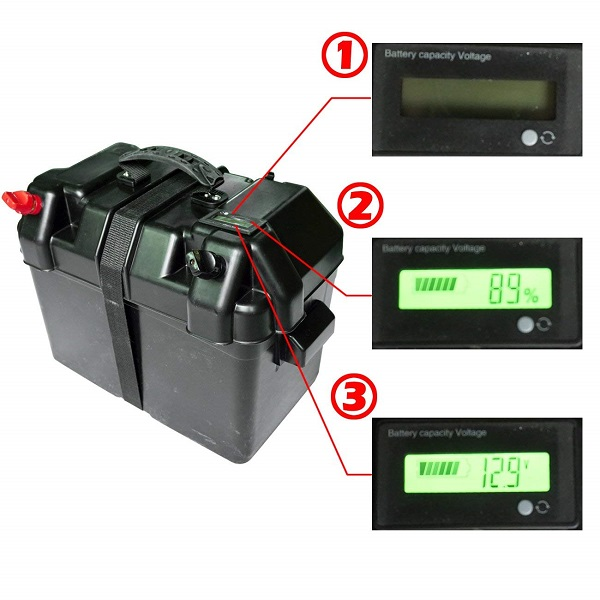 100AH 12V Black Box Battery with LCD Screen for Automotive, Marine, and RVs