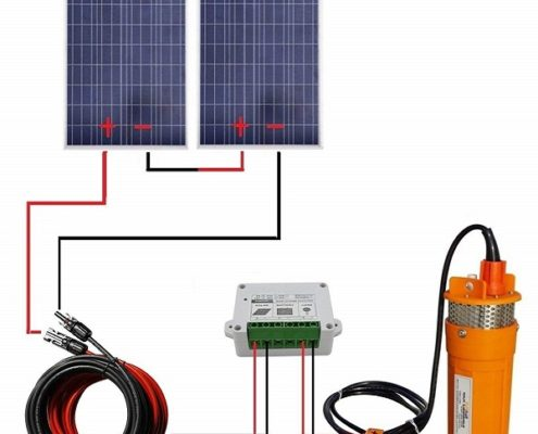 200W 24V Solar Water Pump System with Mounting Kits for Water Fountain