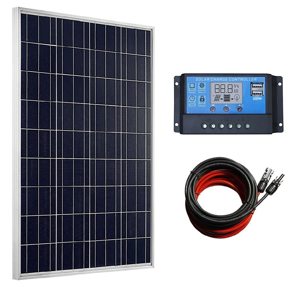100 Watts Solar Panel Kit with 20A LCD Display PWM Charge Controller