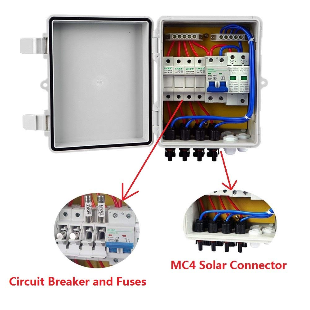 4 String Solar PV Combiner Joint Box with 10A Circuit Breakers for On Off Grid System